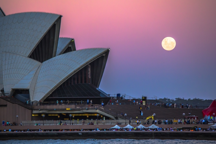 Full moon rising behind the Sydney Opera House. Photo by Ana Andres-Arroyo photography.
