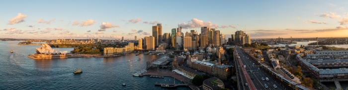 Sydney CBD seen from atop the Harbour Bridge pylon lookout