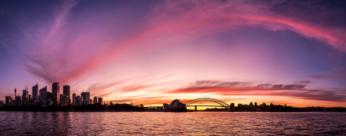 Sydney Sunset view from Mrs Macquire's Chair // Fuji x100s 18 shot panorama